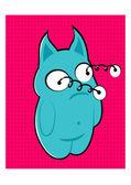 Blue monster with bulging eyes — Stock Vector