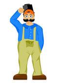 Welder with mustache and bulging eyes — Stock Vector