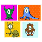 Cartoon funny one eyed colorful animals — Stock Vector