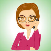 Secretary with glasses talking on phone — Stock Vector