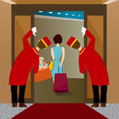 Two bellhops looking at woman leaving — Stock Vector