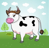 Pé de vaca engraçada em um prado — Vetor de Stock