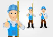 Construction engineer worker builder — Stock Vector