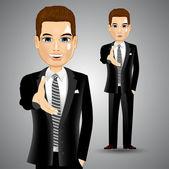 Businessman extending right hand for handshake — Stock Vector