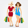 Two women with shopping bags — Stockvektor  #84074432