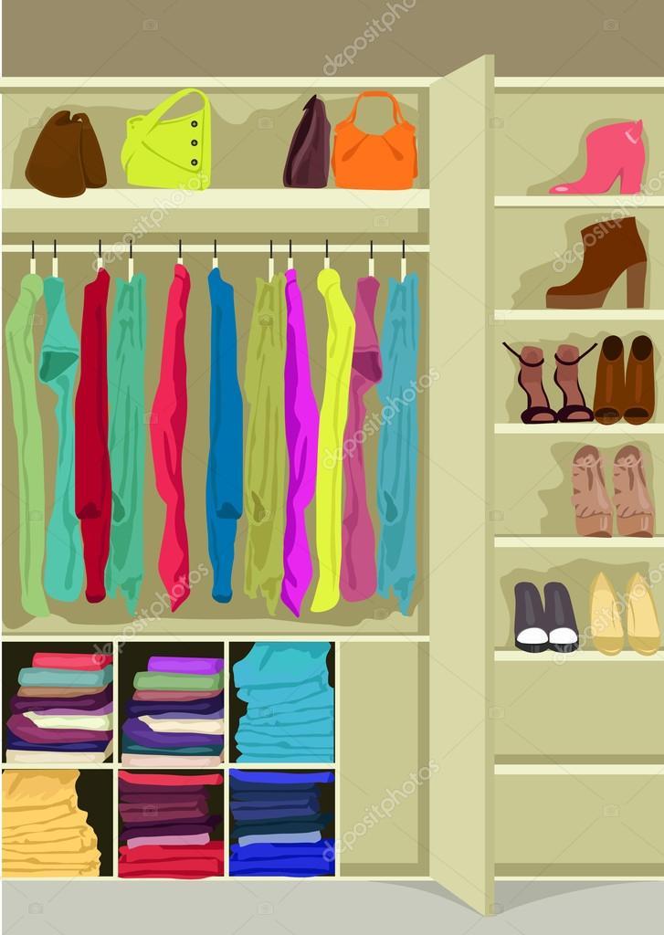 Habitaci n de armario lleno de ropa de mujer vector de - Armario de ropa ...