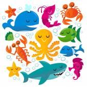 Happy Fun Cartoon Sea Creatures Set — Stock Vector