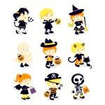 Halloween Kids Costume Icons — Stock Vector #71193187