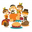 Retro Autumn Festival Thanksgiving Scene — Stock Vector #71193781