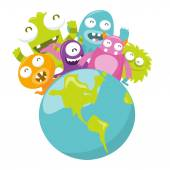 Happy Silly Cute Monster World — Stock Vector