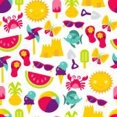 Retro Summer Time Fun Seamless Pattern Background — Stock Vector