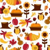 Retro Fall Harvest Seamless Pattern Background — Stock Vector