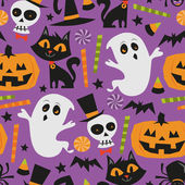 Retro Haunted Halloween Seamless Pattern Background — Stock Vector
