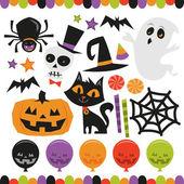 Retro Haunted Halloween Set — Stock Vector