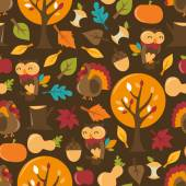 Retro Autumn Festival Seamless Pattern Background — Stock Vector