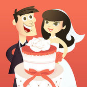 Cartoon Bride And Groom With Wedding Cake — Stock Vector