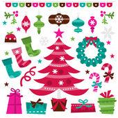 Retro Holly Jolly Christmas Design Elements Set — Stock Vector