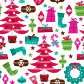Retro Holly Jolly Christmas Seamless Pattern Background — Stock Vector