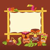 Retro Hawaiian Luau Party Tiki Sign — Stock Vector