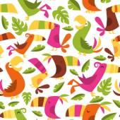 Retro Hawaiian Luau Tropical Birds Seamless Pattern Background — Stock Vector