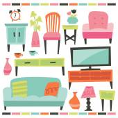 Retro Home Living Furniture Set — Stock Vector