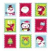 Whimsical Fun Christmas Stamps — Stock Vector