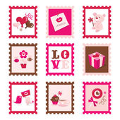 Whimsical Valentine's Day Stamps Set — Stock Vector