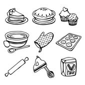 Baking Icons Doodle Line Art — Stock Vector