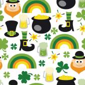 Retro St Patrick's Day Seamless Pattern Background — Stock Vector