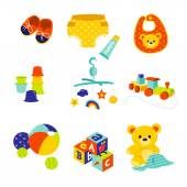 Baby Gears And Toys — Stock Vector