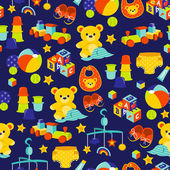 Baby Gears And Toys Seamless Pattern Background — Stock Vector