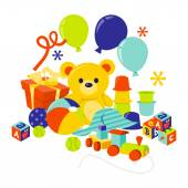 Baby Gears And Toys Gift Hamper — Stock Vector