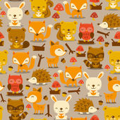 Super Cute Woodland Creatures Seamless Pattern Background — Stock Vector
