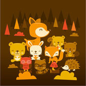 Super Cute Woodland Creatures Scene — Stock Vector