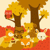 Super schattig bos wezens In Whimsy Forest — Stockvector