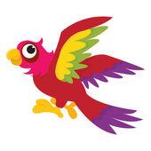 Cartoon Parrot Flying — Stock Vector