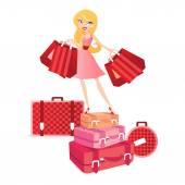 Travel shopping girl — Stock Vector
