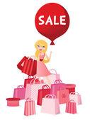 Big Balloon Sale Shopping Girl — Stock Vector