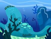 Under The Sea Background Scene — Stock Vector