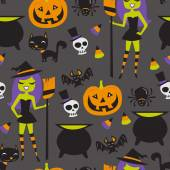 Retro Halloween Witch Party Seamless Pattern Background — Stock Vector