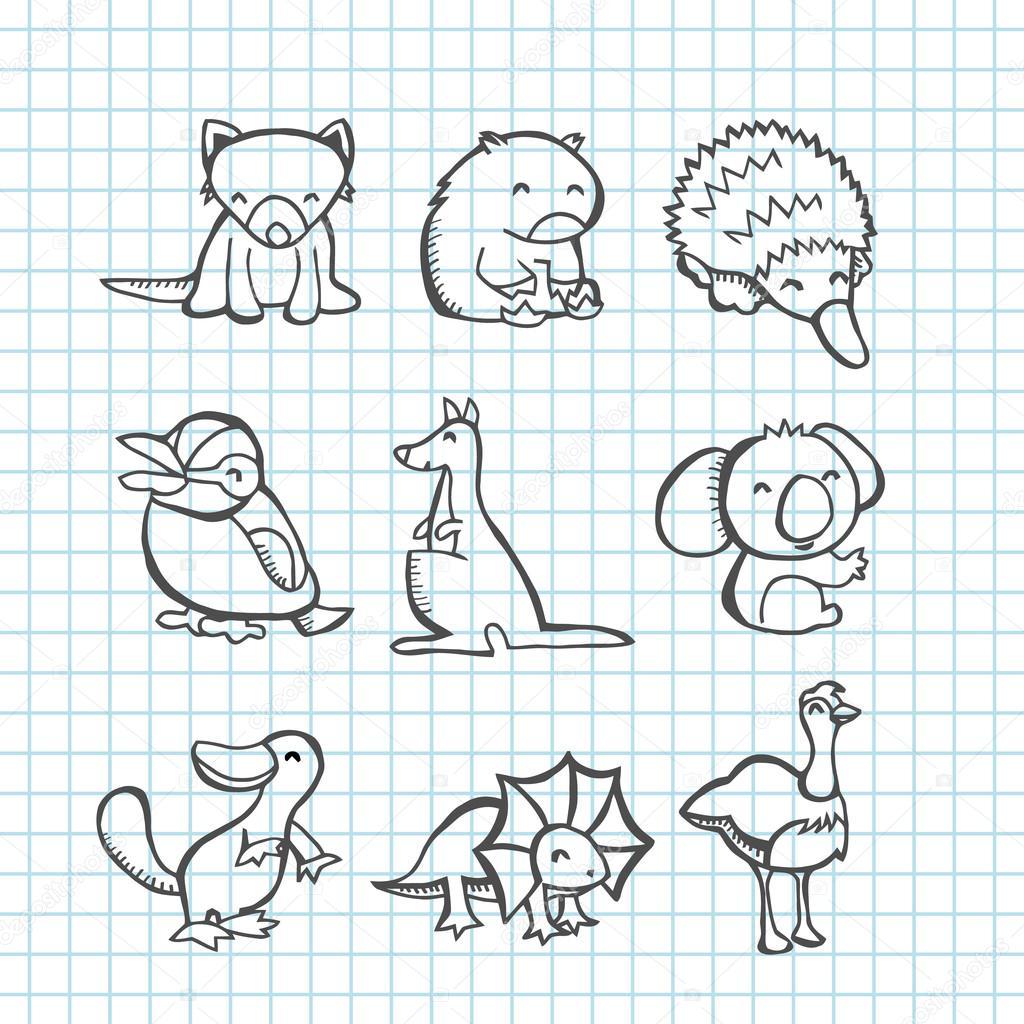 Line Drawings Of Australian Animals : Australská zvířata doodle Čárová grafika — stock vektor