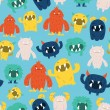 ������, ������: Cute Furry Monsters Seamless Pattern Background
