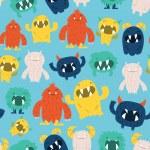 Постер, плакат: Cute Furry Monsters Seamless Pattern Background