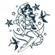 Hand Drawn Vintage Tattoo Ink Sailor Girl — Stock Vector #71202993