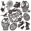 Vintage Paper Cut Easter Silhouette Set — Stock Vector #71204155