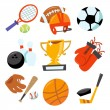 Cartoon vector illustration of fun wonky sporting icons set — Stock Vector #71204289