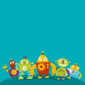 Happy Robots copy space — Stock Vector