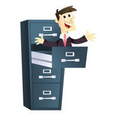 Cartoon Businessman Pop Up Filing Cabinet — Stock Vector