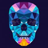 Geometric Triangle Color Blend Skull — Stock Vector