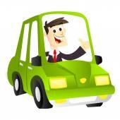 Cartoon Eco Driving Business Man — Stock Vector